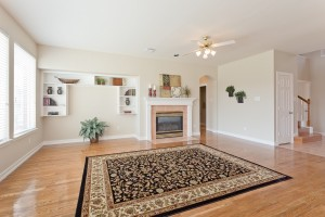 Built ins on living area along with gas fireplace.