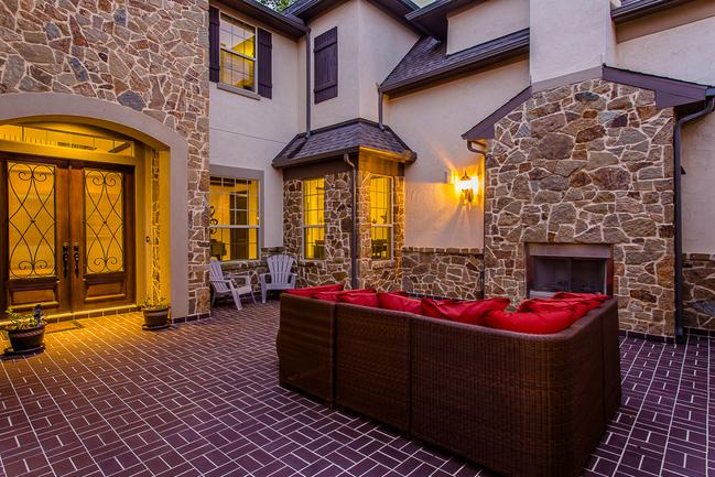 scenic stone courtyard with fireplace